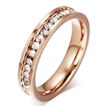 Fashion Cute Women's Ring Rose Gold Zinconia & CZ 4.0mm Width Engagement Rings
