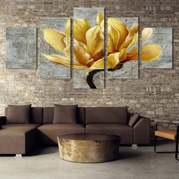 5pieces/set canvas painting gold orchid flower oil painting 3 pieces wall art decorative No frame H094